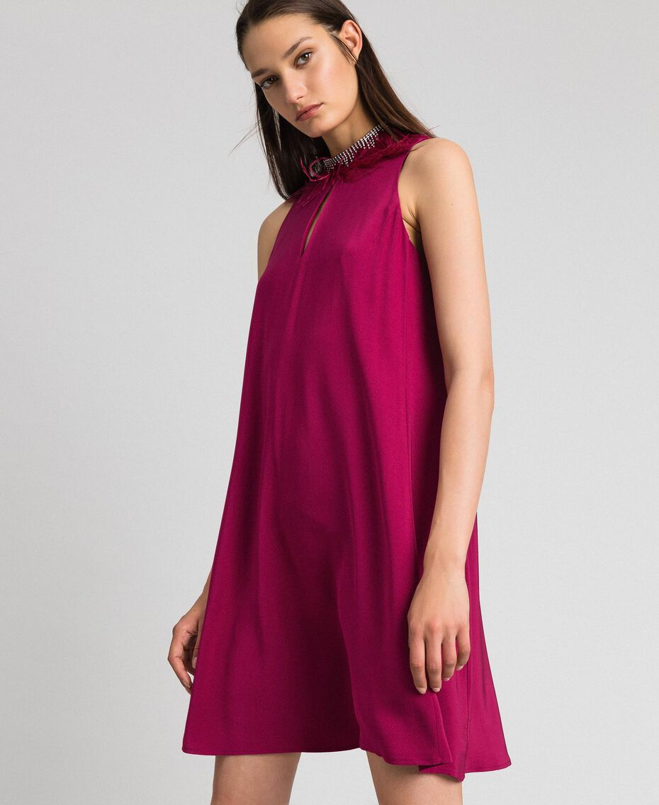 Georgette dress with removable jewel Beet Red Woman 192TP2111-02