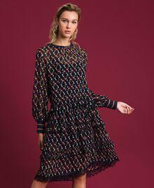 Printed georgette dress with frills Fox Geometric Print Woman 192ST2152-01