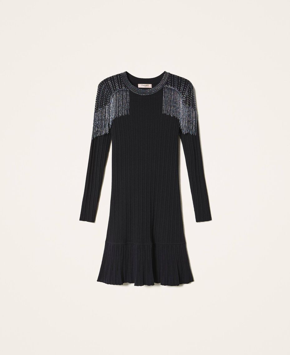 Ribbed knit dress with fringes Black Woman 202TT3211-0S