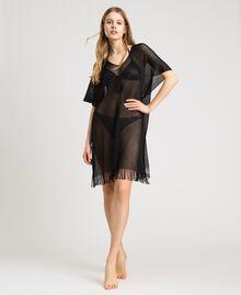 Glossy yarn poncho with fringes Black Woman 191LB44CC-01