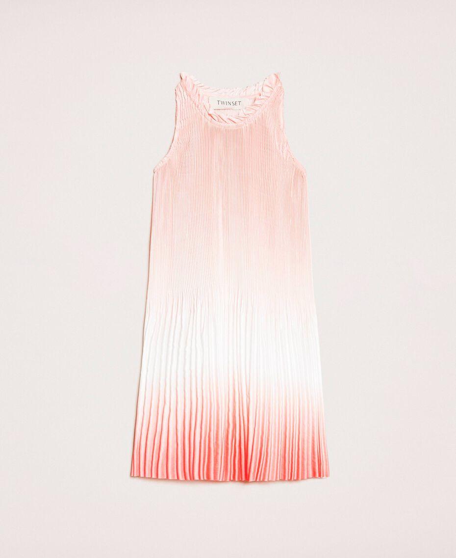 "Fadeout pleated satin dress ""Calypso Coral"" Red Multicolour Print Child 201GB2200-01"