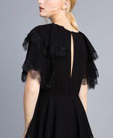 Robe longue en crêpe georgette volanté Noir Femme TA828E-07