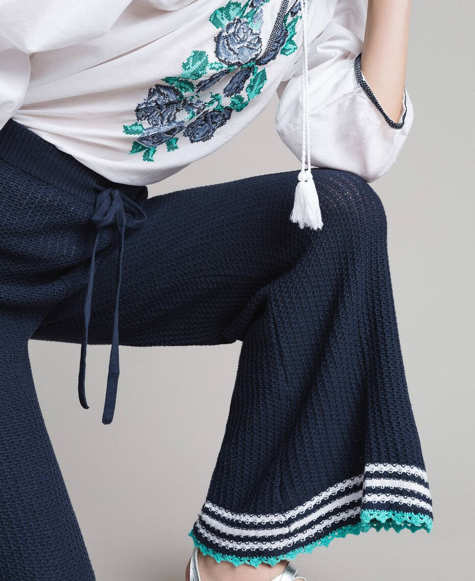 Pantalon palazzo en maille Multicolore Bleu Nuit / Blanc Cassé / Bleu Piscine Femme 191MT3081-01