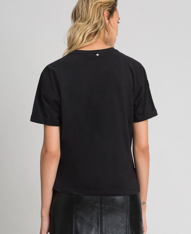 T-shirt con ricamo lurex a farfalla Nero Donna 192TT2560-04