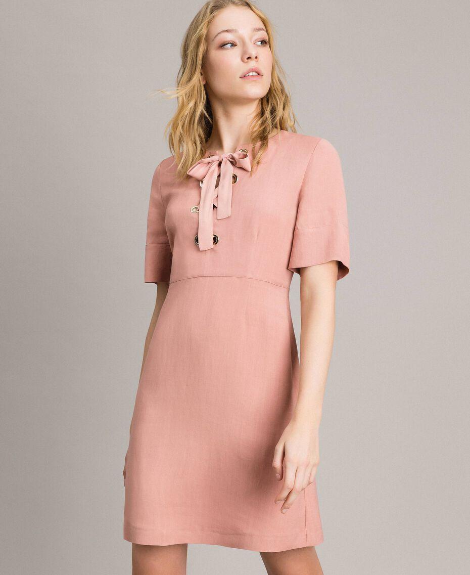 Платье с бантом из смесового льна Розовый Жемчуг женщина 191TP2204-02