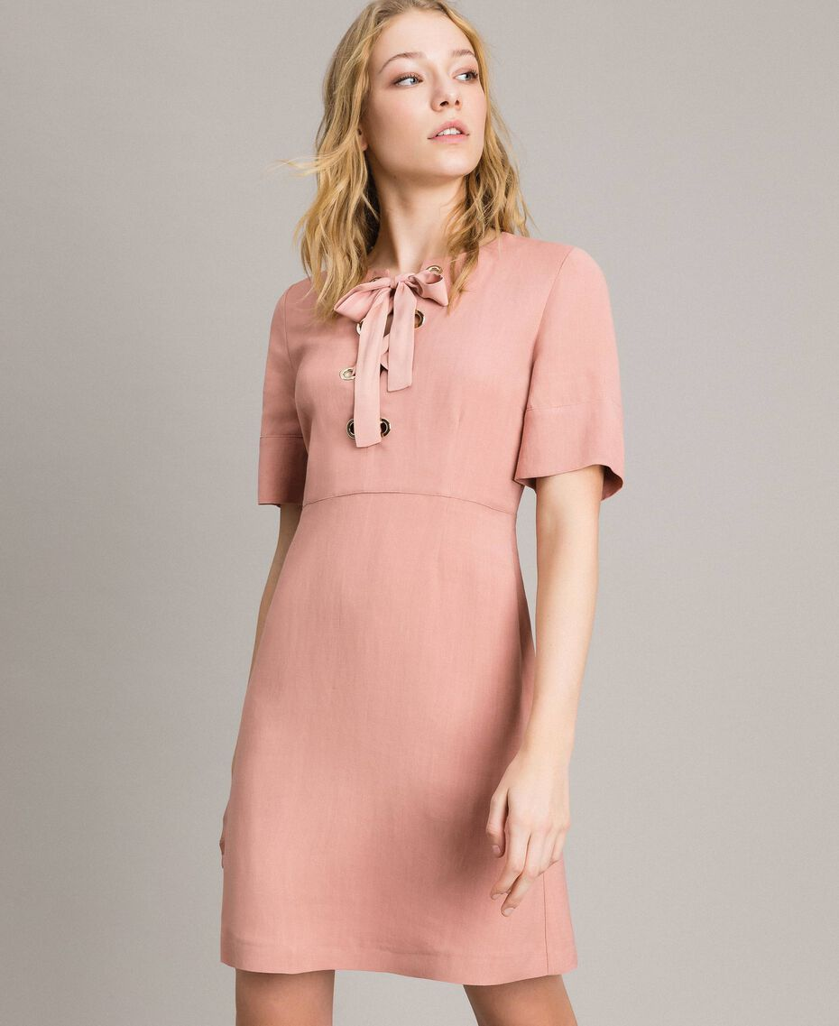 Linen blend bow dress Pink Pearl Woman 191TP2204-02