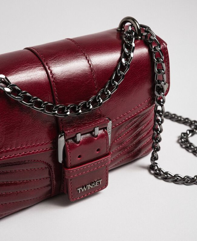 Small Rebel leather shoulder bag Beet Red Woman 192TA7237-01