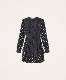 "Polka dot crêpe de Chine dress Black / ""Snow"" White Polka Dot Patch Woman 202TT2311-0S"