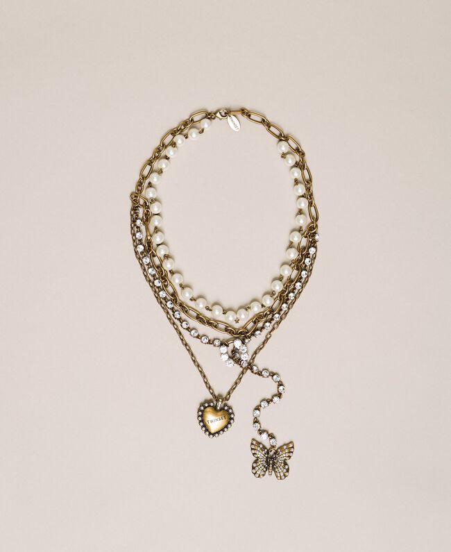 """Mehrreihige Halskette mit Perlen, Ketten und Strass """"Kupfriges Altmessing""""-Gold Frau 201TA430C-01"""