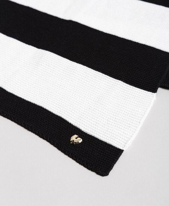 Écharpe jacquard rayée en coton