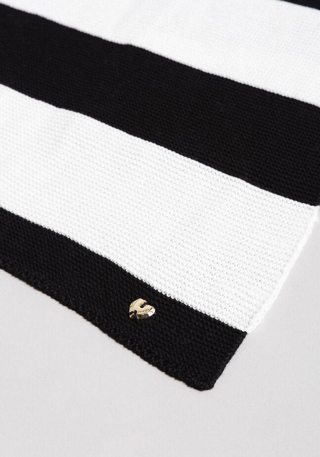 Jacquard striped cotton scarf