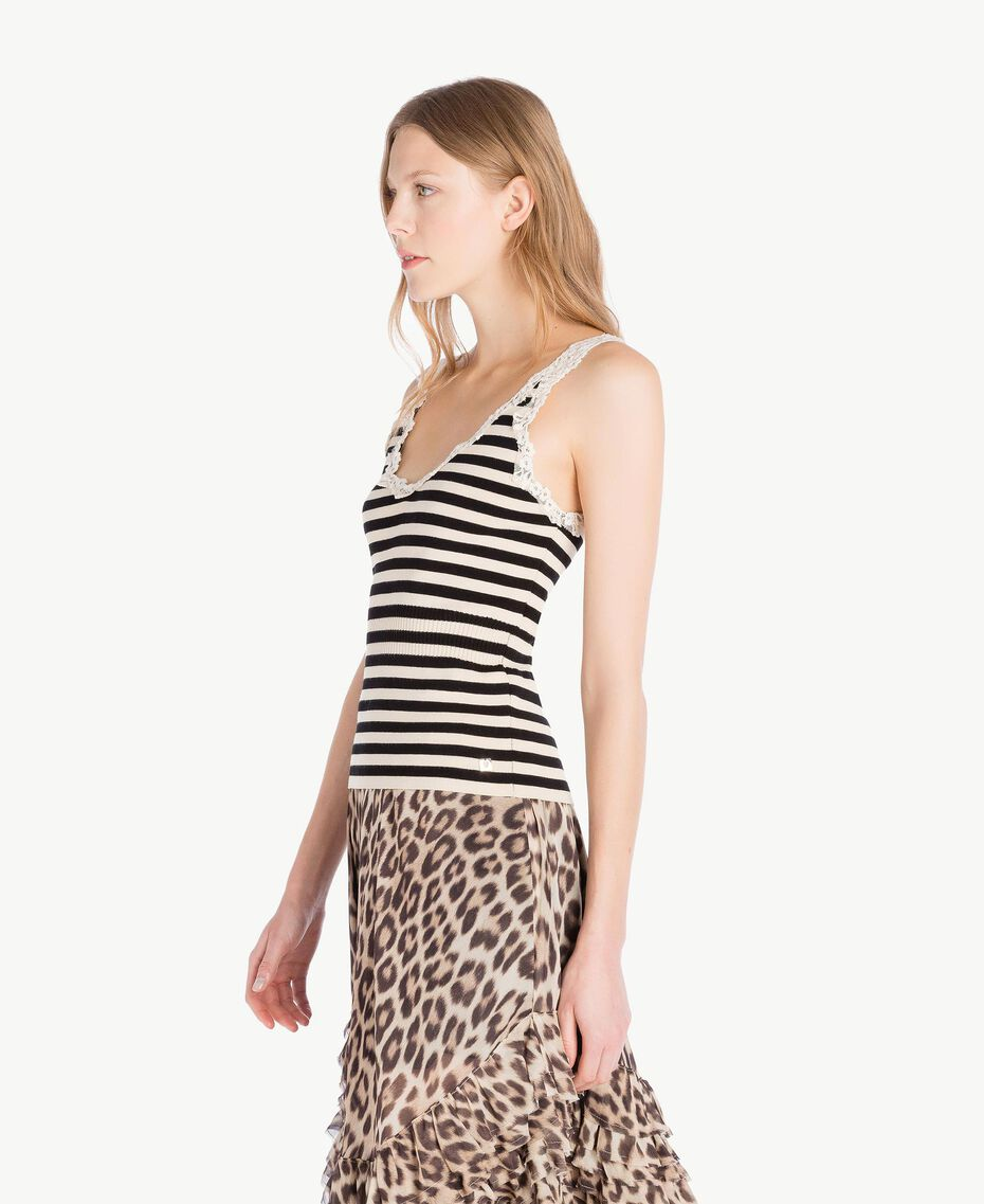 Striped tank top Black / Ecru Stripes Woman PS8396-02