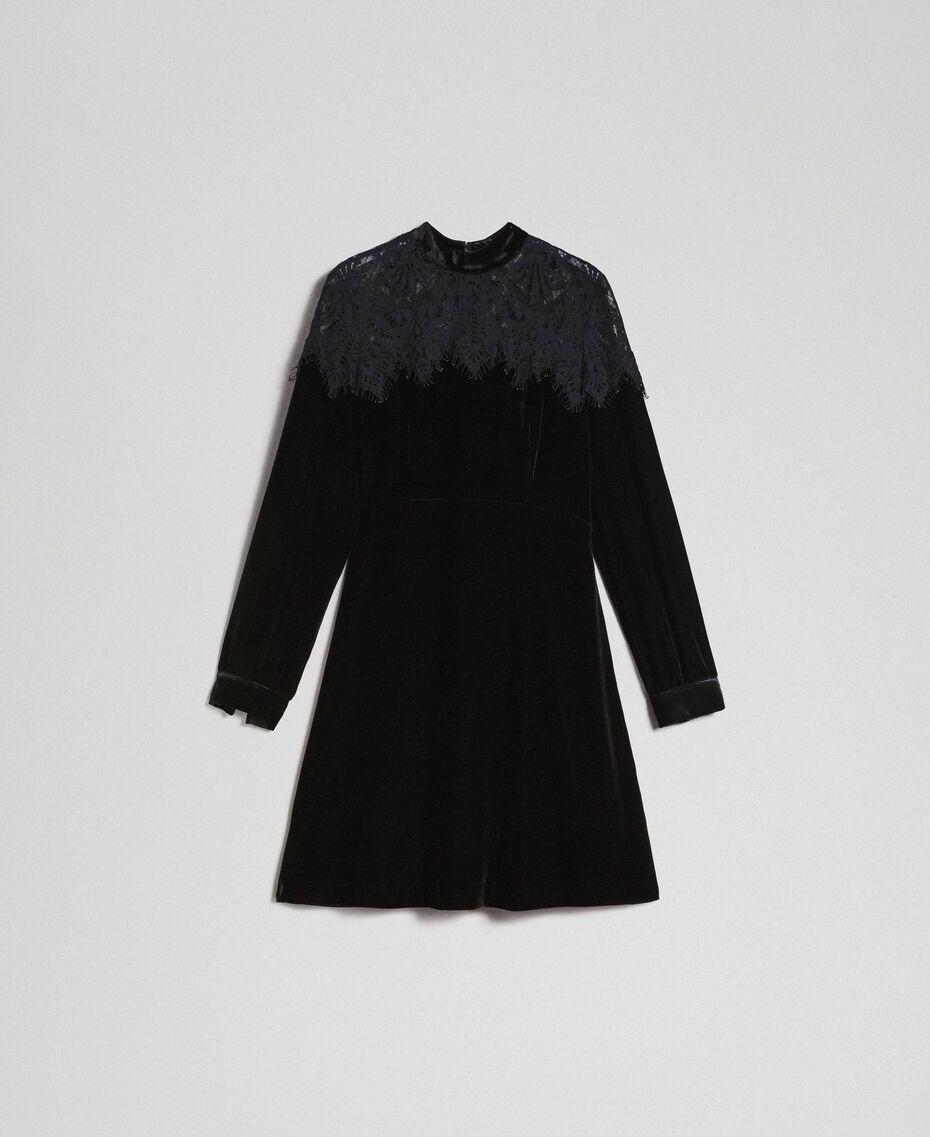 Kleid aus Samt mit Spitze Schwarz Frau 192TT2424-0S