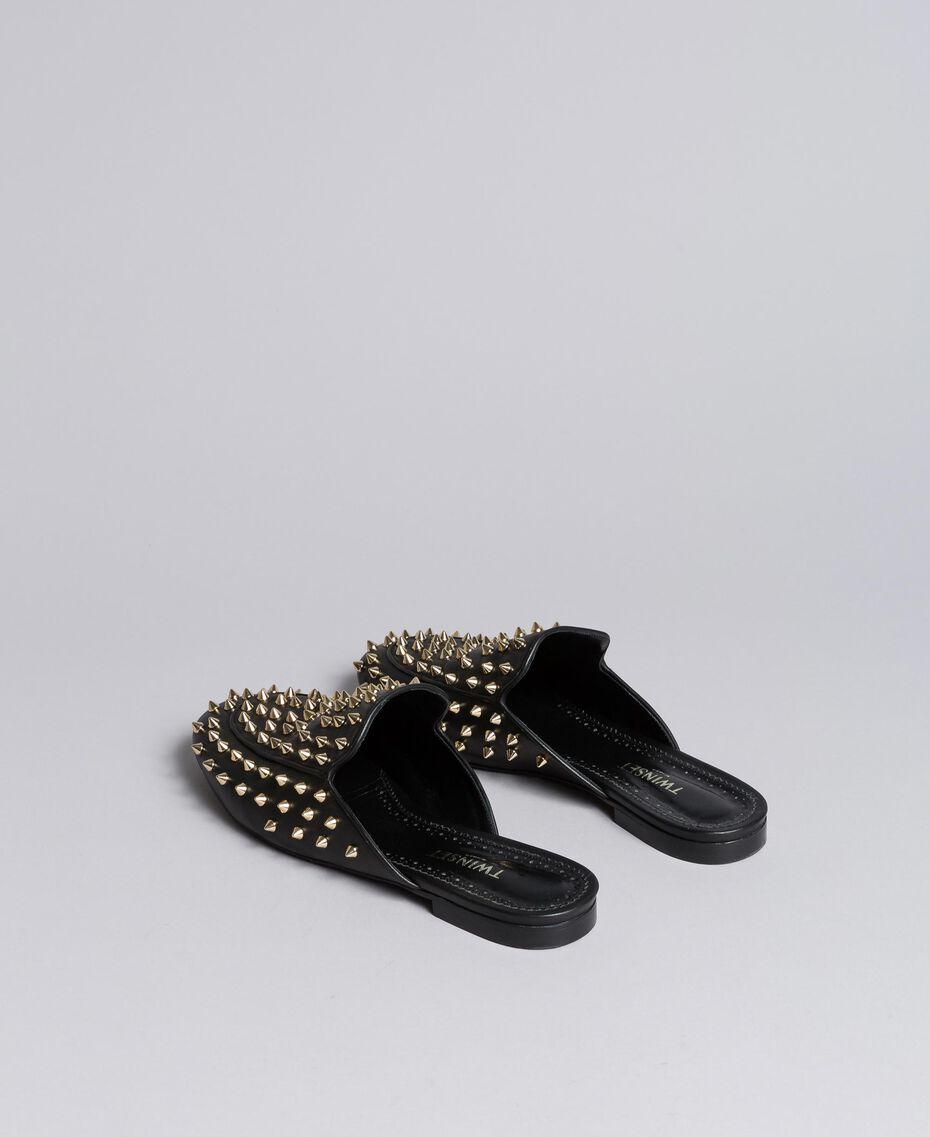 Pantolette aus Leder mit Nieten Schwarz Frau CA8TFG-05