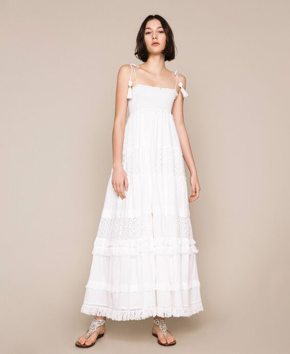 Long broderie anglaise dress with flounces
