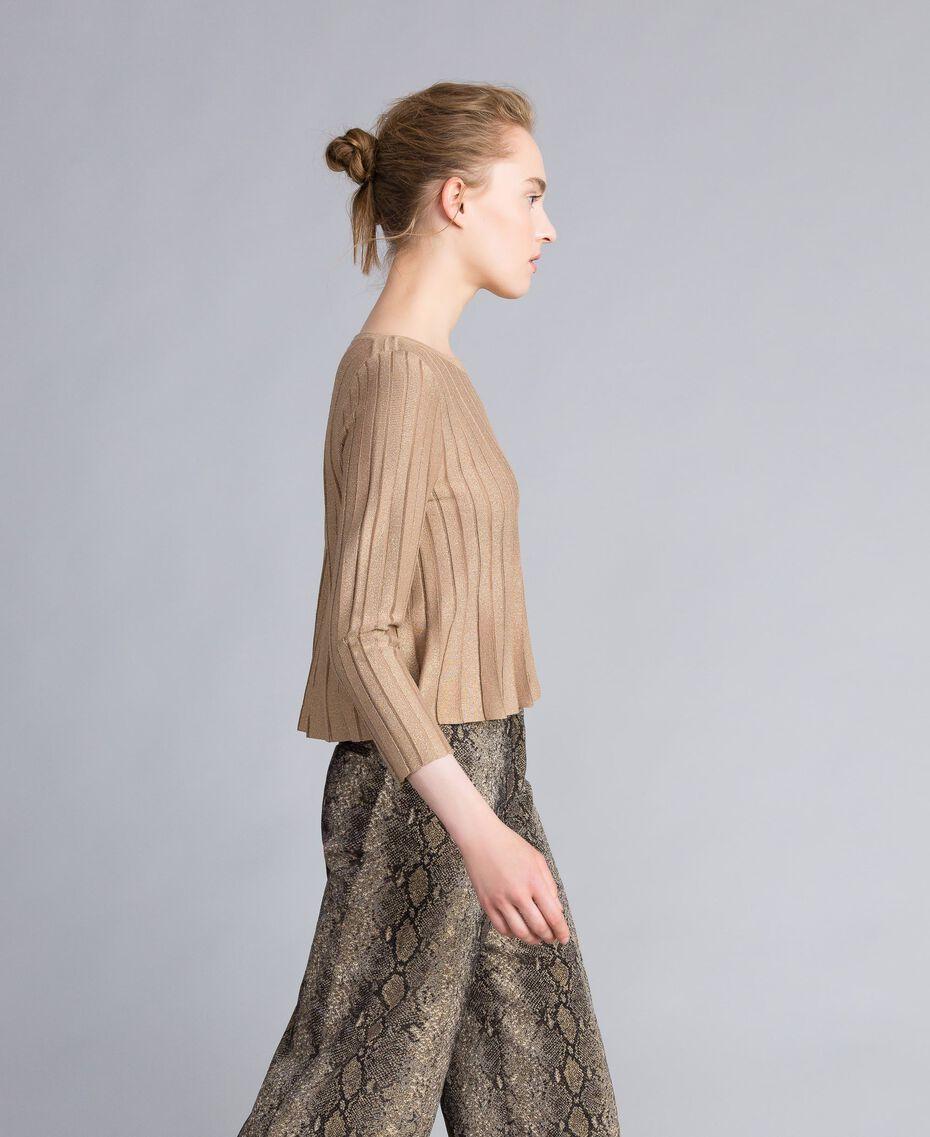 Pullover aus Lurexgarn mit Plissee Lurex Kamelbraun Frau PA83CC-02