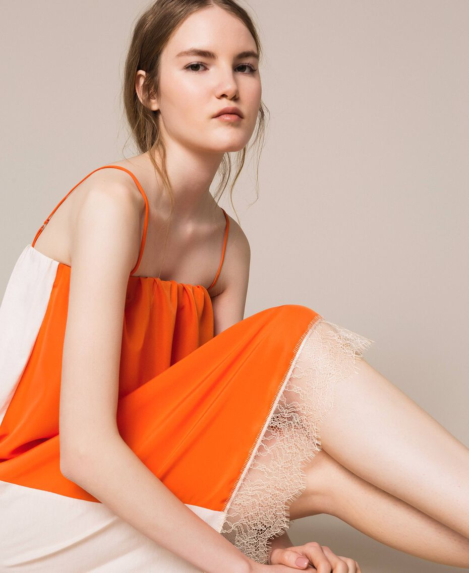 "Lace slip dress Two-tone ""Calendula"" Orange / Off White Woman 201MT2282-01"