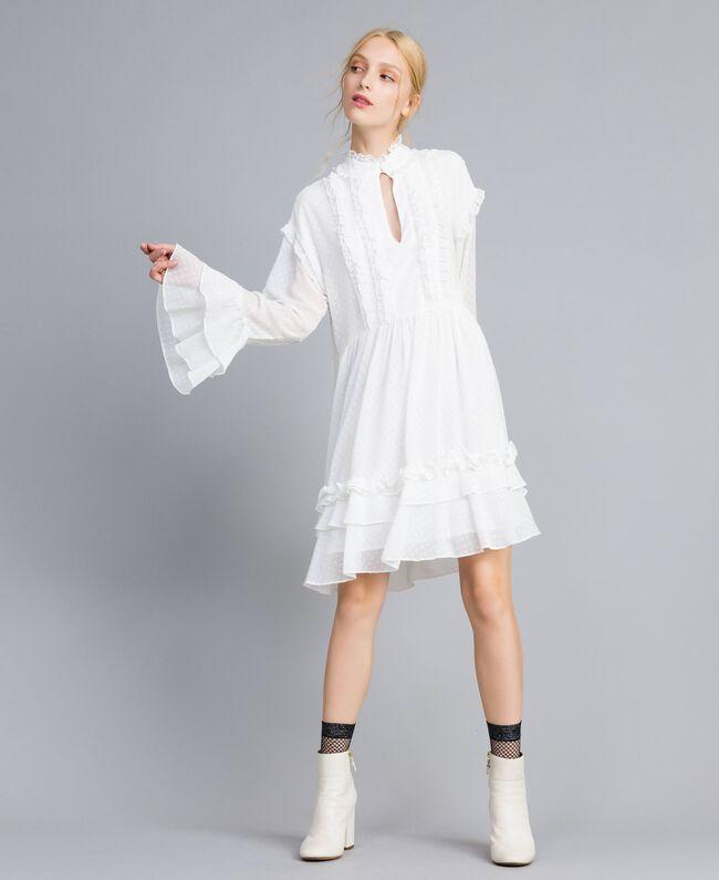 Kleid aus Fil Coupé Perlmutt Frau SA82GA-04