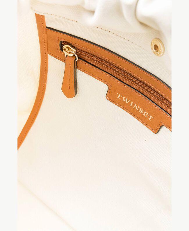 TWINSET Tasche aus Canvas Zweifarbig Dünenbeige / Leder Frau OS8TAF-04