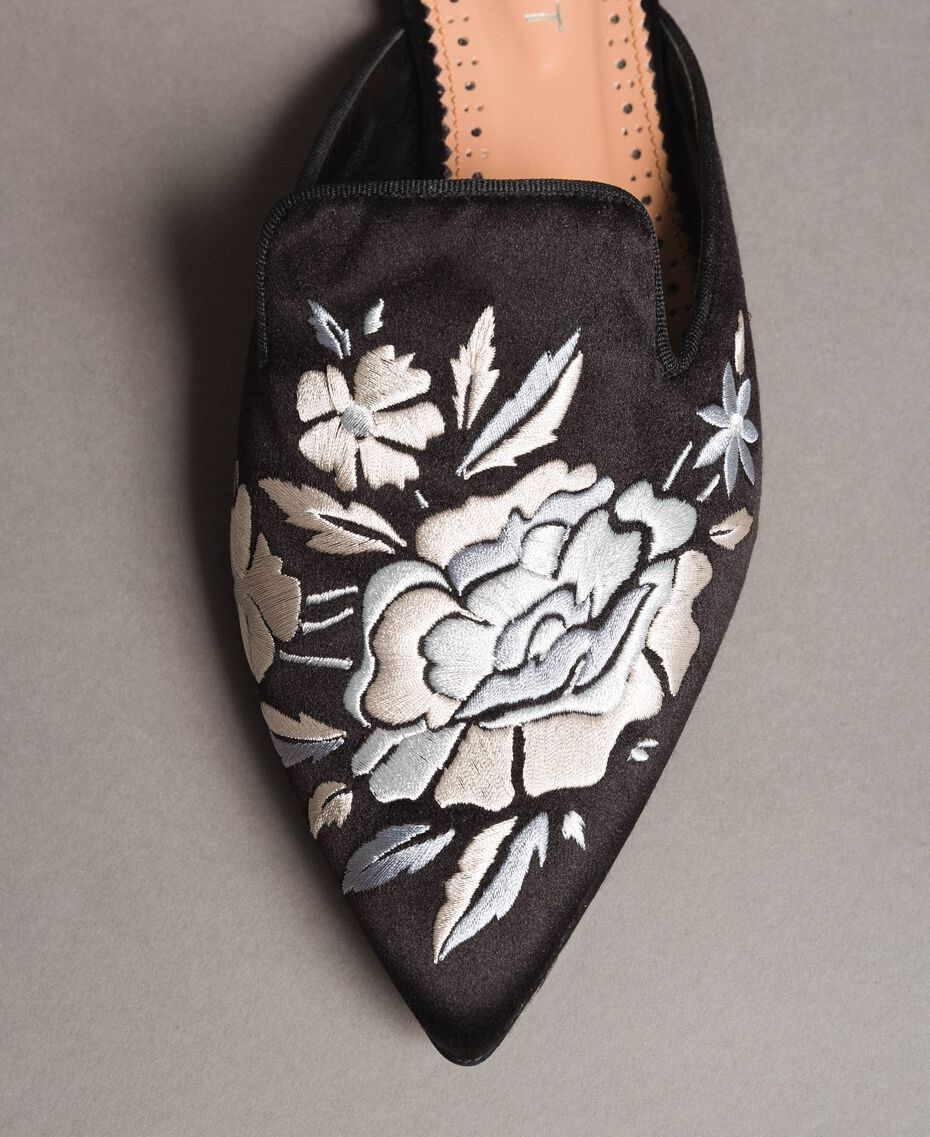 Embroidered satin mules Black Woman 191TCT014-03