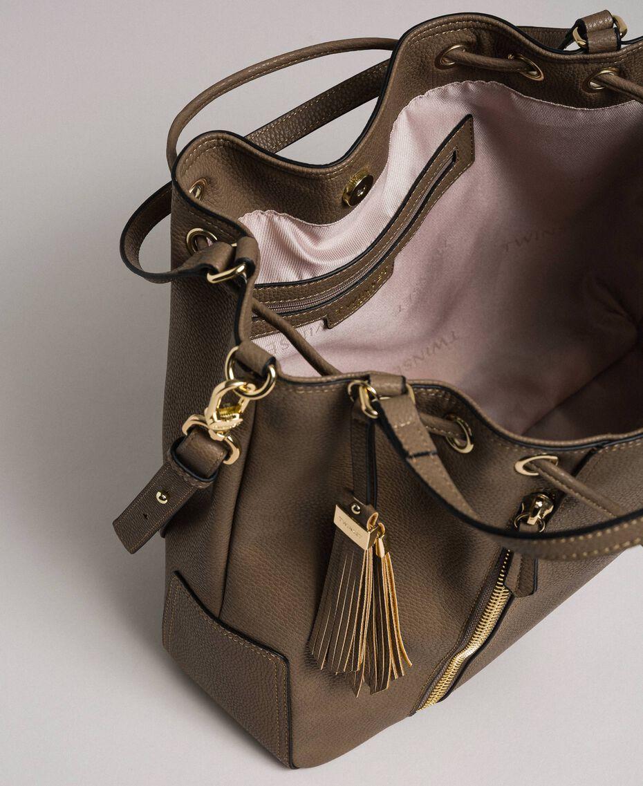 Large faux leather bucket bag Turtledove Woman 192TA7144-05
