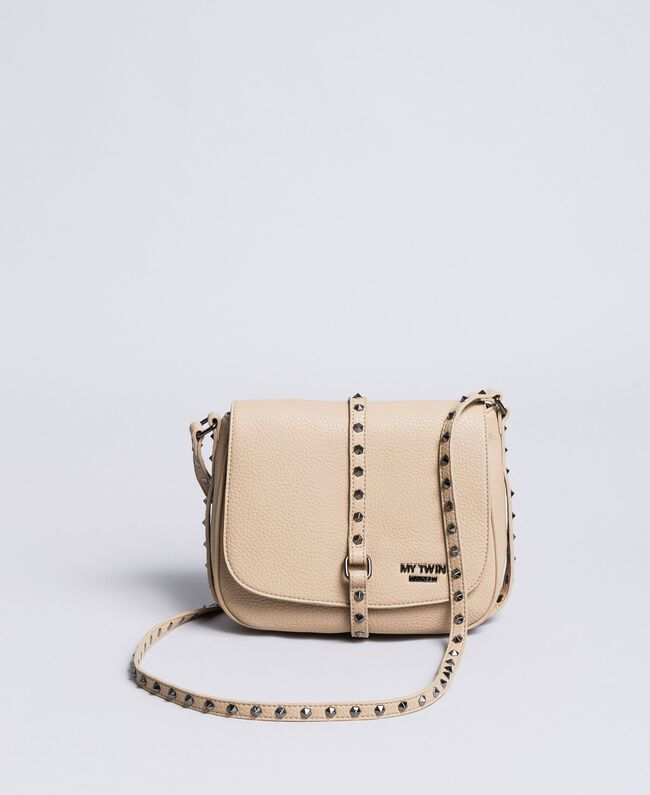 Faux leather animal print shoulder bag Turtledove Woman VA8PAG-01