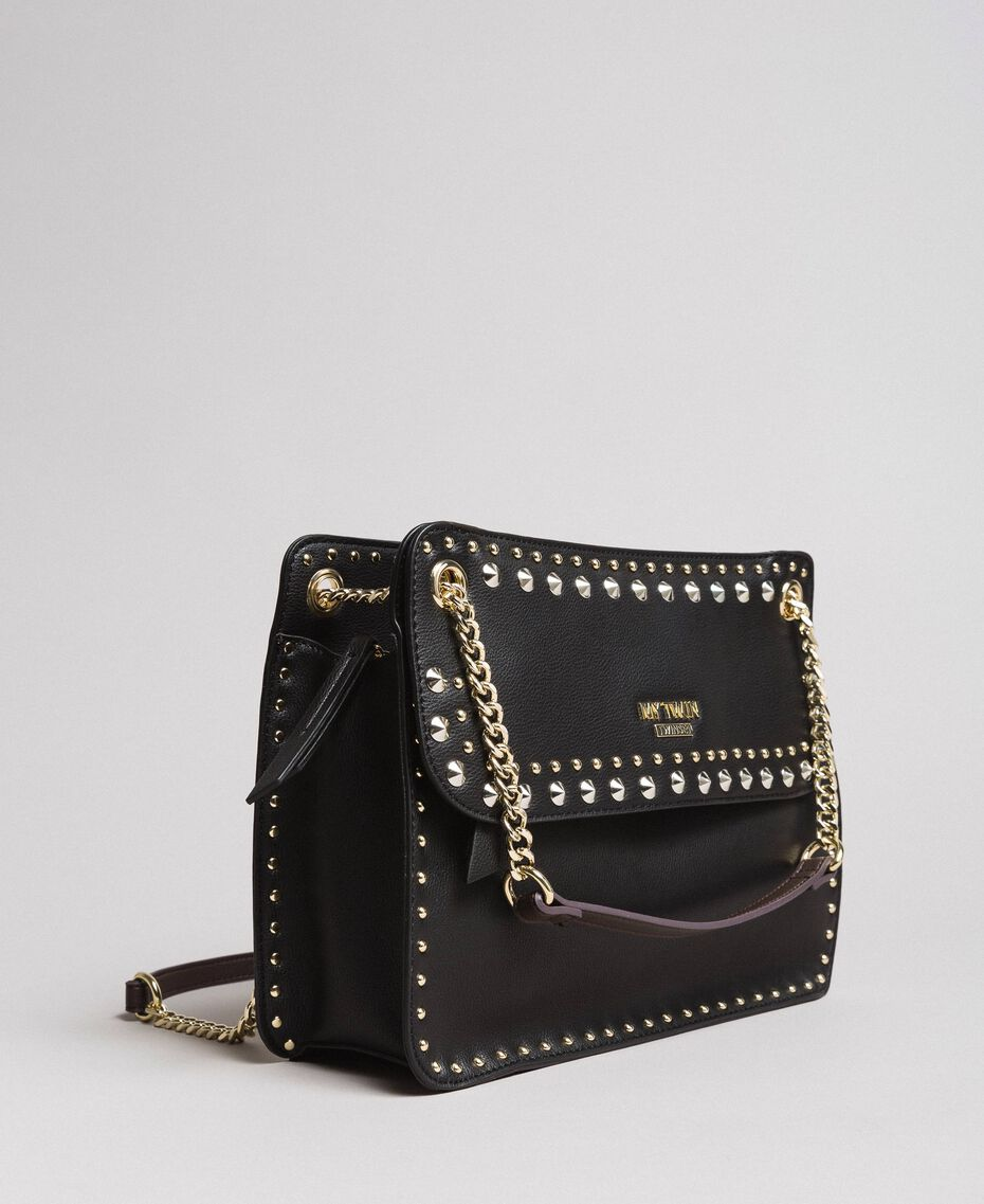 """Faux leather shoulder bag with studs """"Surreal Pink"""" Woman 191MA7141-01"""