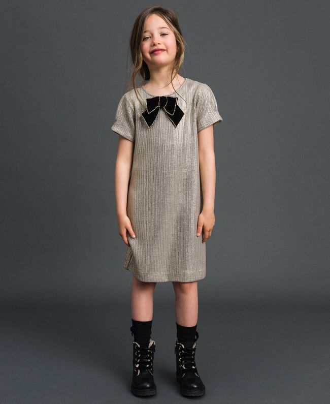 Laminated knit dress with brooch Pale Gold Yellow Child 192GJ2364-01