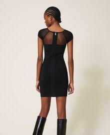Robe fourreau en maille et tulle Noir Femme 202MT3010-04