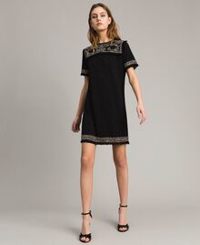 Embroidered linen blend dress with fringed trim Black Woman 191TT3050-02