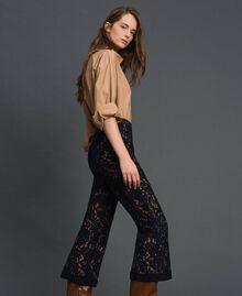 "Macramé lace flared trousers ""Sequoia"" Beige / Night Blue Woman 192ST208D-02"