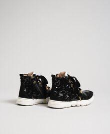 Sneakers alte in pelle con paillettes Nero Bambina 192GCJ046-03