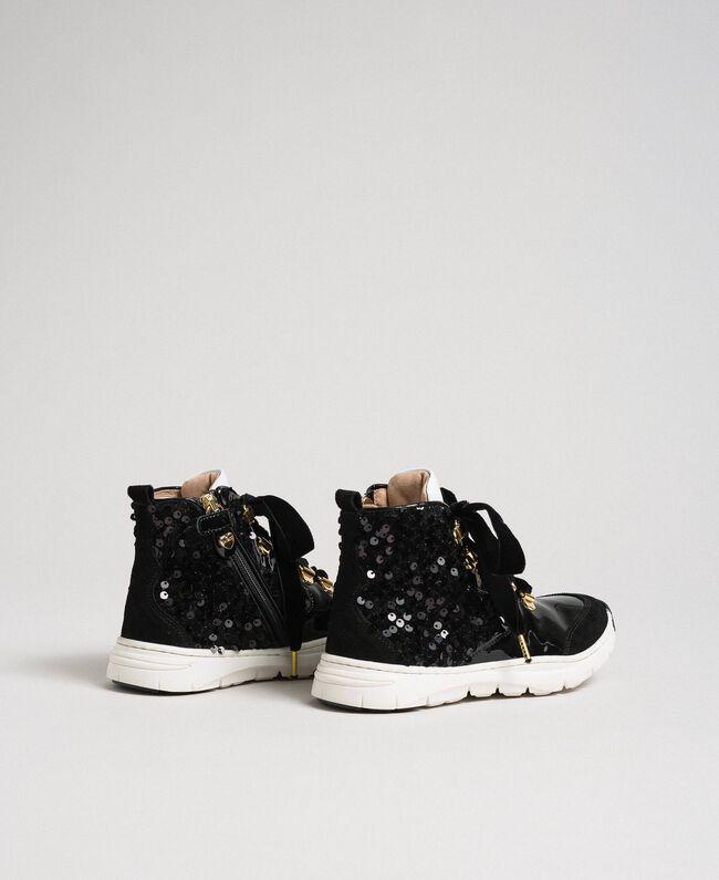 Baskets montantes en cuir avec sequins Noir Enfant 192GCJ046-03