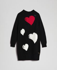 Knitted dress with inlaid hearts Black / Jacquard Child 192GJ3190-0S