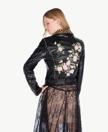 Embroidered biker jacket Black Woman PS82DN-03