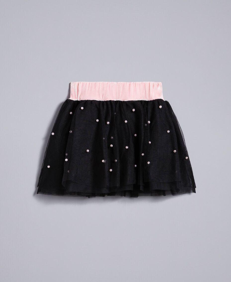 """Gonna in tulle con perle Bicolor Rosa """"Blush"""" / Nero Bambina FA82JB-0S"""