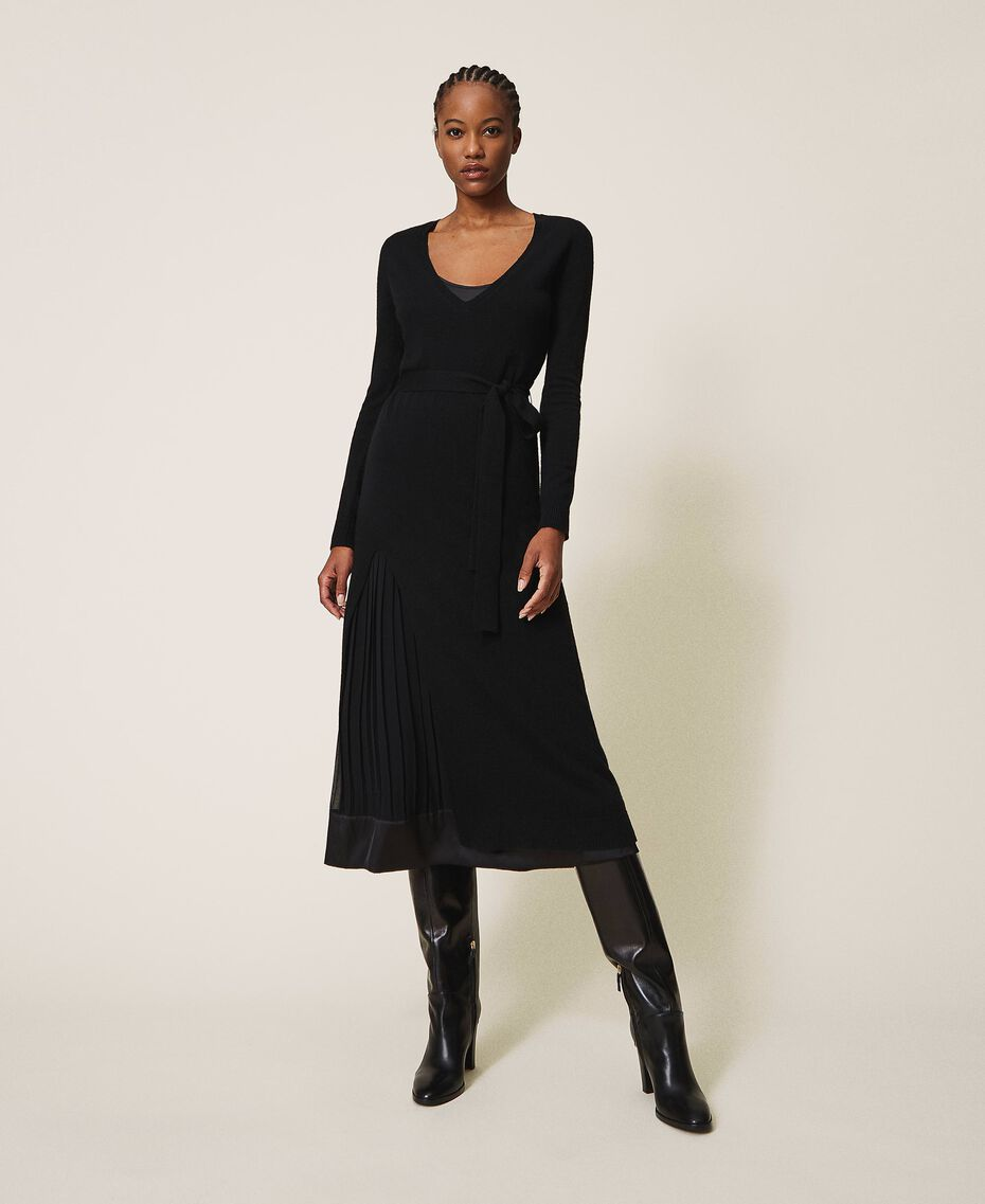 Wool blend dress with slip Black Woman 202TT3053-01