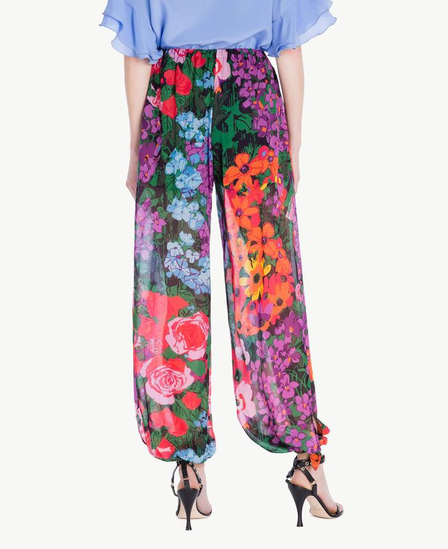 Printed jogging trousers Sixties Style Flower Print Woman TS824H-03