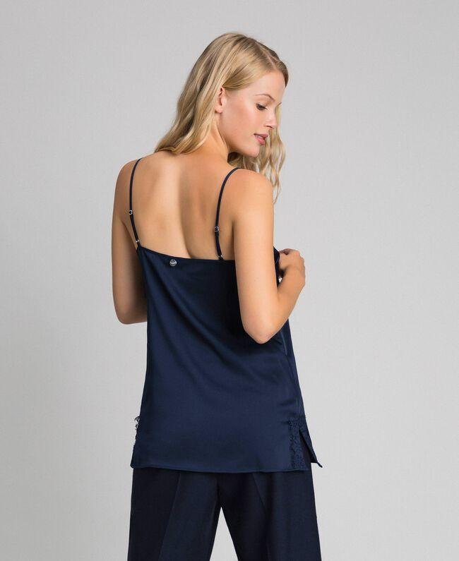 Top avec dentelle et boutonnière latérale Bleu Nuit Femme 192ST2093-03