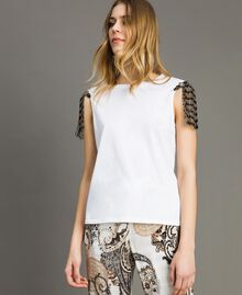 Tank top with sequin and bead embroidery White Woman 191TT2350-01