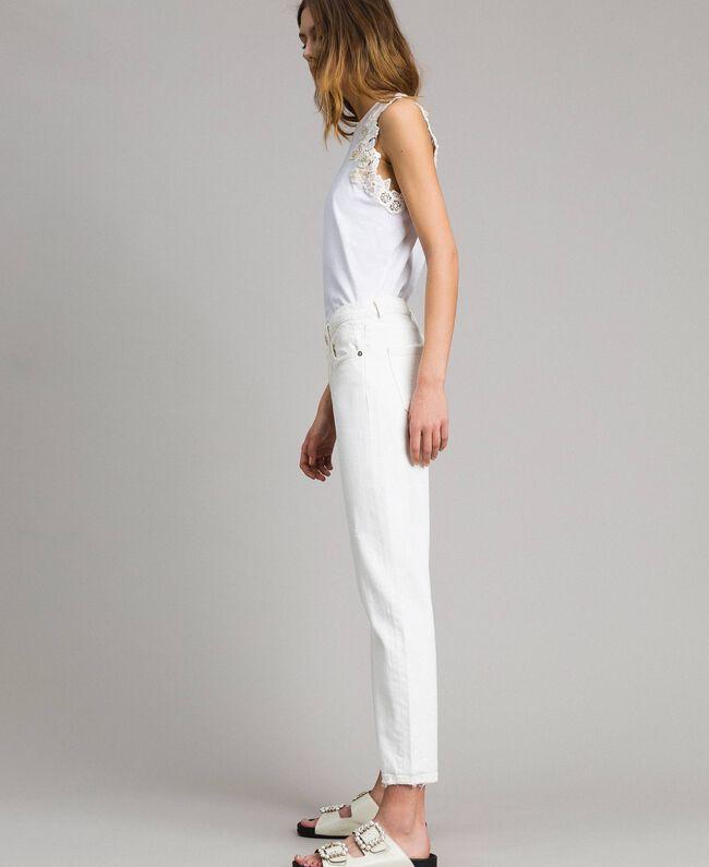 Pantalon en drill avec broderie Blanc Femme 191TT2520-03