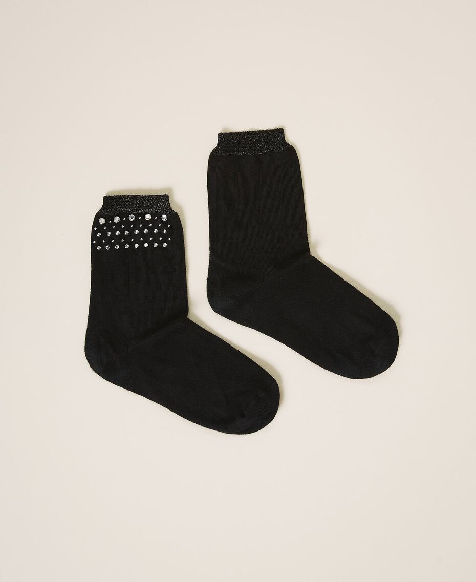Socks with studs and bezels Black Woman 202TA4369-02