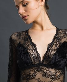 Laminated lace and velvet bodysuit Black Woman 192LL6HYY-04