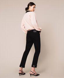 Jeans tomboy con paillettes Denim Nero Donna 201MP2262-05
