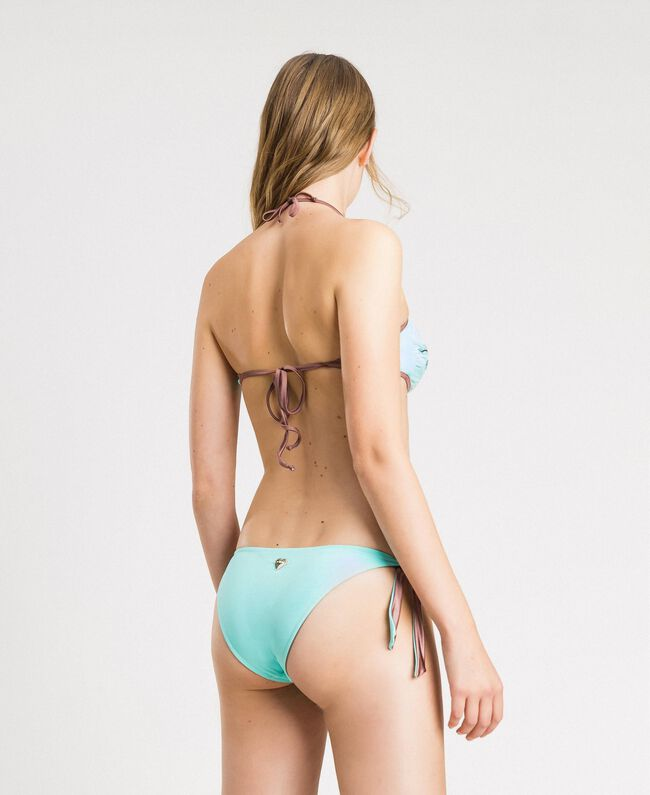 Bandeau-Bikinitop mit Stickerei Hell Mousse Blau Frau 191LBM111-03