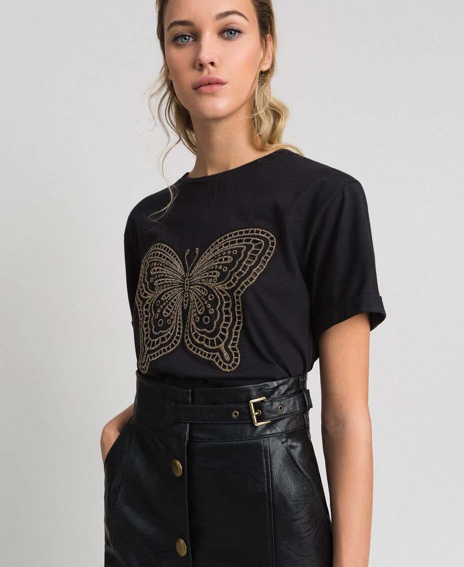 T-shirt con ricamo lurex a farfalla Nero Donna 192TT2560-02