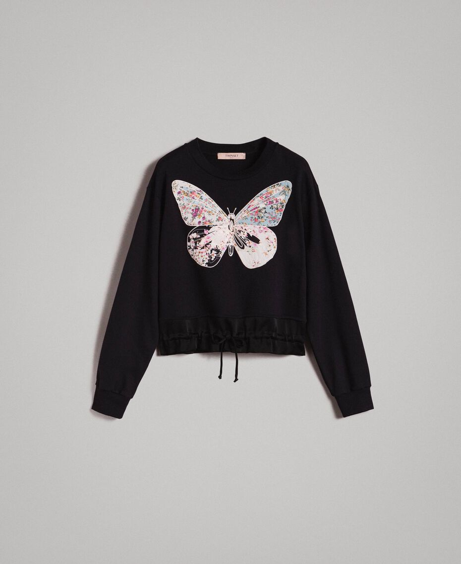 Sweatshirt mit Stickschmetterling Schwarz Frau 191TP2594-0S