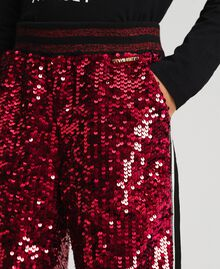 Pantalon de jogging en velours avec sequins Rouge Ruby Wine Enfant 192GJ2092-04