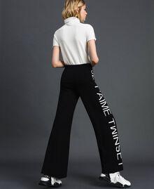 Pantalon palazzo en maille avec logo Jacquard Noir / Blanc Neige Femme 192TP3329-03