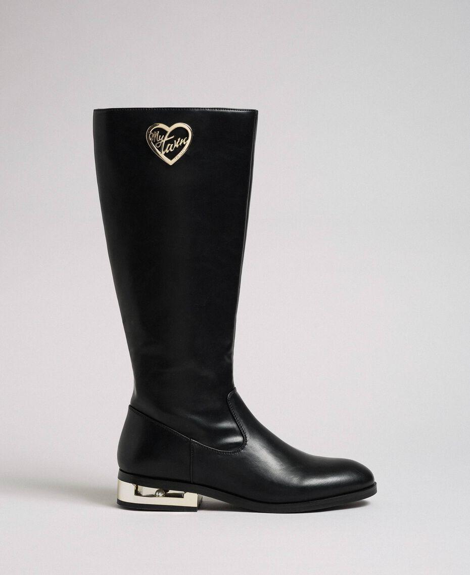 Bottes avec logo et talon décoratif Noir Femme 192MCP022-02